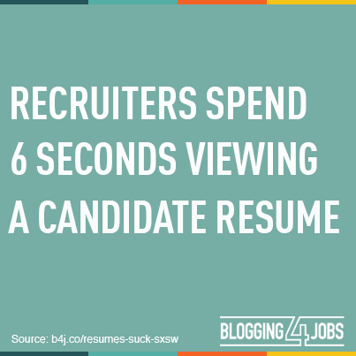 Recruiters Spend 6 Seconds Viewing a Candidate Resume